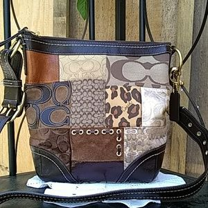 Coach fabric and leather shoulder bag